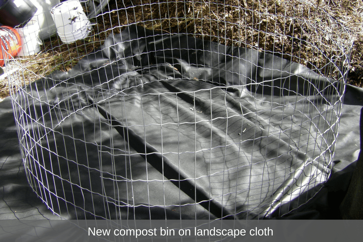 New compost bin on landscape cloth