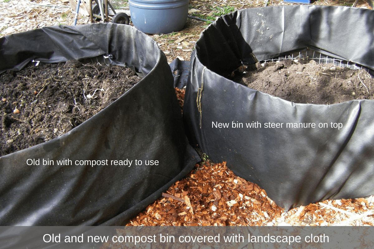 Old and new compost bins