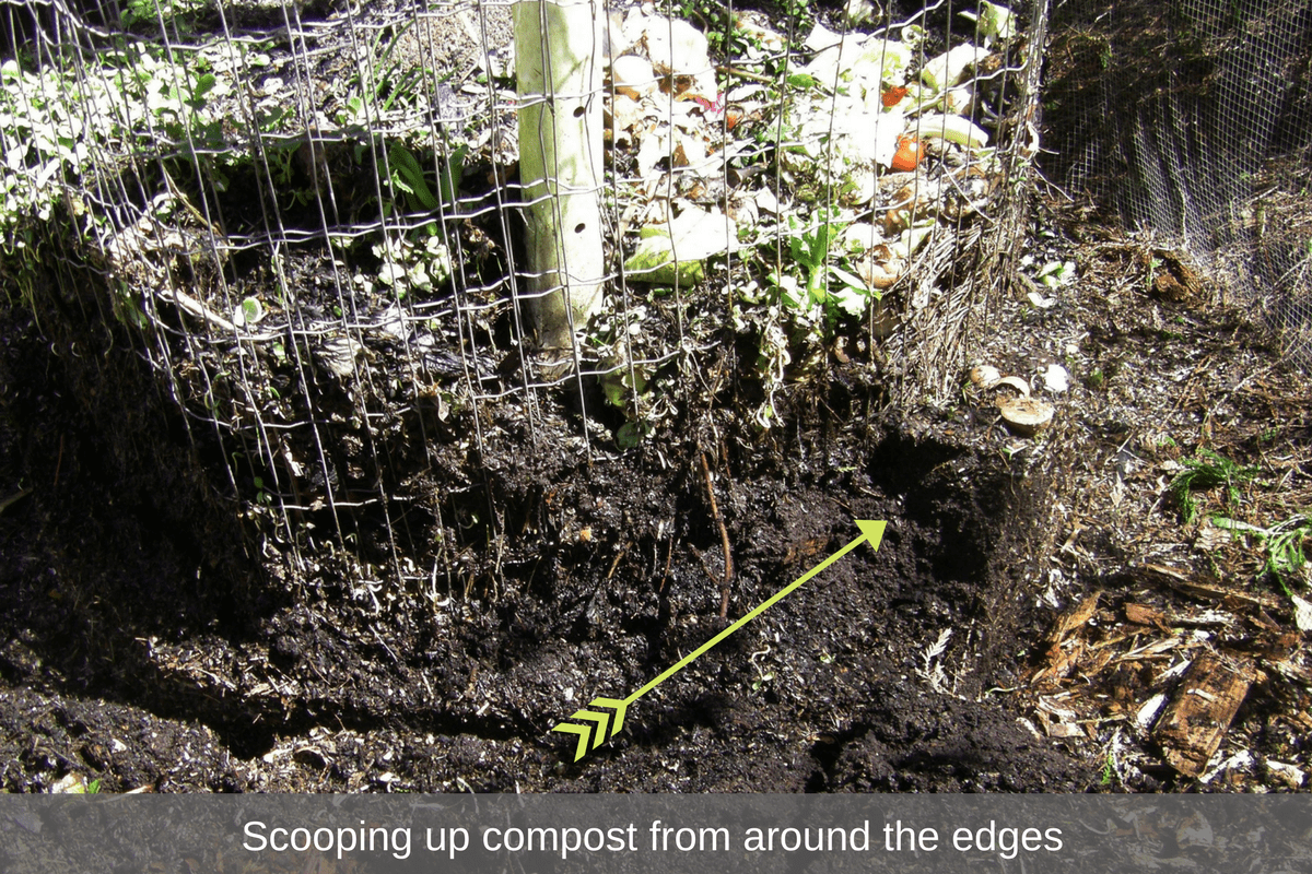 Scooping up compost from around the edges