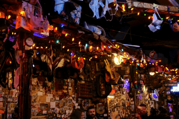 bras hanging from the rafters in Big Bad John's