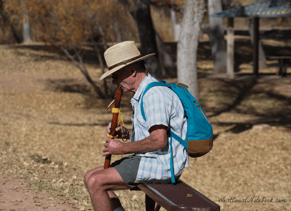 Rob playing flute at Dead Horse Ranch