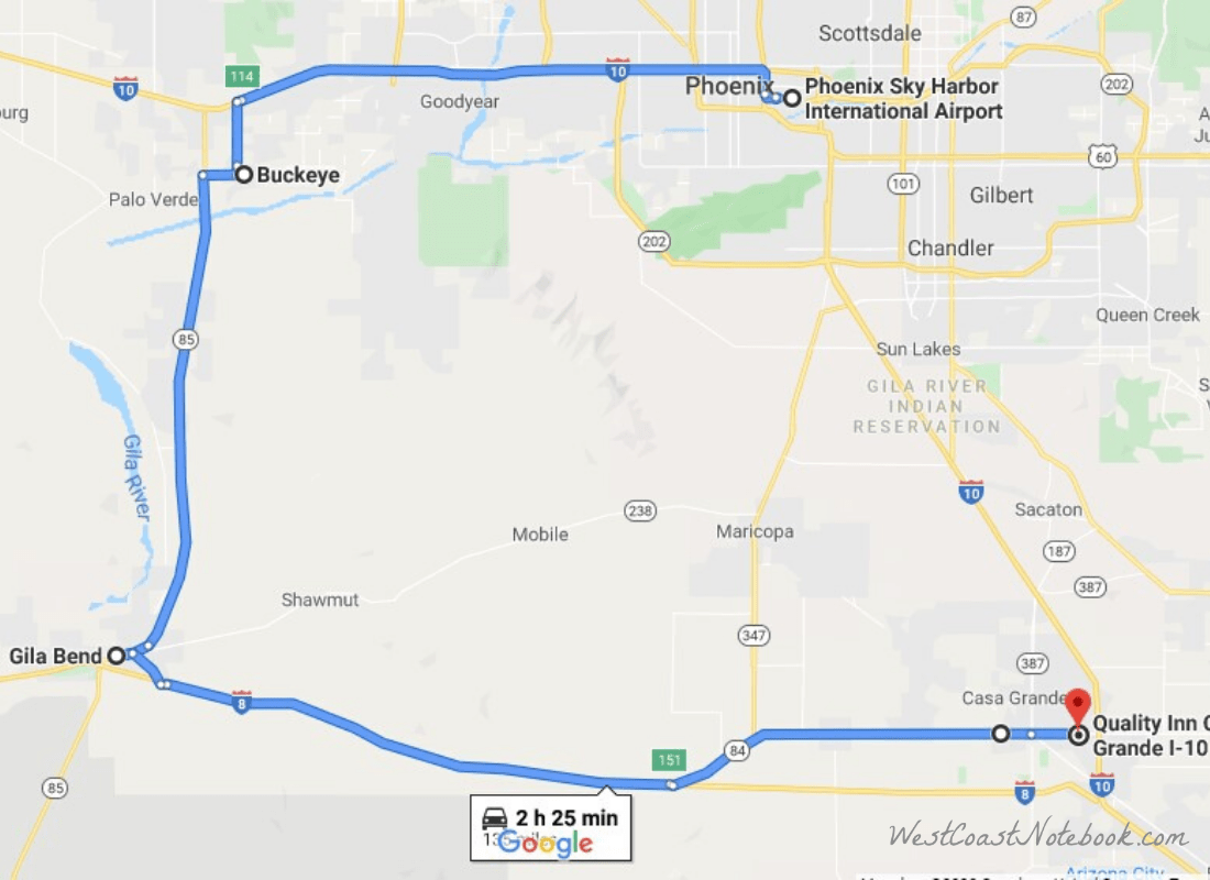 Casa Grande to Gila Bend